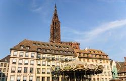 安置Kleber和大教堂,史特拉斯堡,法国 免版税库存图片