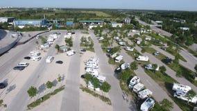 安联球场和停车场,从寄生虫的鸟瞰图 股票录像