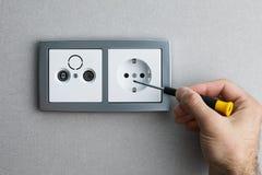 安装交流电能插口 免版税库存图片