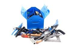 从安装工的技工工具蓝色框的 免版税库存图片