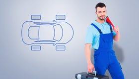 安装工的综合图象有工具箱和活动扳手的 免版税库存照片