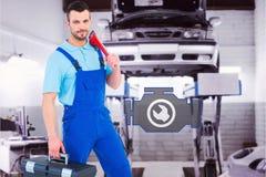 安装工的综合图象有工具箱和活动扳手的 免版税库存图片