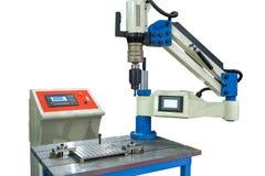 安装操练的钻子的机器人 免版税库存照片