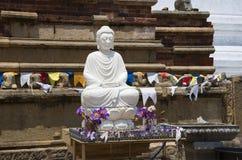 安装的菩萨的雕塑Dagoba的脚的 库存照片