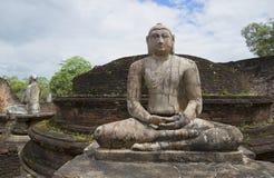 安装的菩萨的雕塑Vatadage的废墟的 Polonnaruwa,斯里兰卡 免版税库存照片