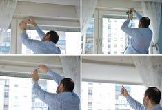 安装窗帘的过程在四张图片 免版税库存图片