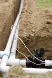 安装洒水装置 免版税库存图片