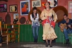 安达卢西亚的女孩跳舞并且唱佛拉明柯舞曲,南西班牙,塞维利亚, 04/15/2017的典型的传统音乐 图库摄影