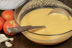 安达卢西亚的gazpacho,其中一西班牙美食术主导的方次数  免版税库存图片