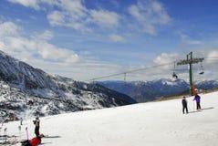 安道尔casa de la pas滑雪 库存照片