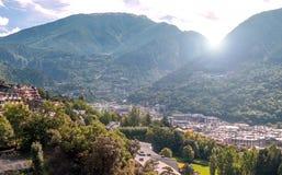 安道尔la Bella鸟瞰图  图库摄影