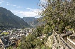 安道尔la Bella鸟瞰图  库存图片