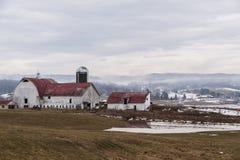 安静的农厂场面在冬天-西维吉尼亚 免版税库存照片