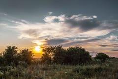 安静的夏天晚上、日落在领域,和平和quiet_ 库存图片