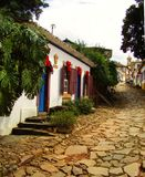 安静的小巷在Tiradentes米纳斯吉拉斯州巴西 库存照片