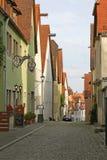 安静的欧洲人被修补的街道 免版税库存照片