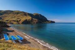 安静的海湾,黑海,克里米亚 库存照片