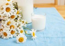 完全有瓶的时髦的木厨房牛奶和玻璃在桌,夏天上开花春黄菊, moring健康的食物 库存照片