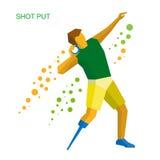 完全残疾运动员投掷的射击 爱好健美者图标剪影体育运动 免版税库存照片