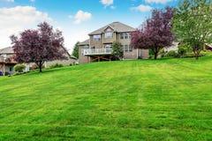 完全被保留的草坪在宽敞后院 议院外部 库存图片