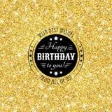 完善与金黄五彩纸屑题材的生日快乐模板 皇族释放例证