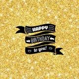 完善与金黄五彩纸屑题材的生日快乐模板 向量例证