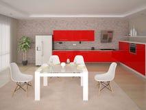 完善的厨房的嘲笑有完善的厨房家具的 库存例证