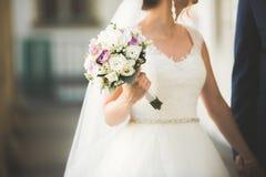 完善的夫妇新娘,摆在和亲吻在他们的婚礼之日的新郎 免版税库存图片