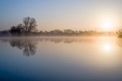完善的春天湖日出 免版税库存照片