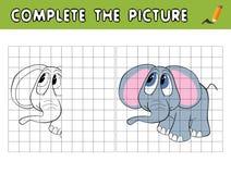 完成一头逗人喜爱的婴孩大象的图片 复制图片并且上色它 孩子的教育比赛 库存例证