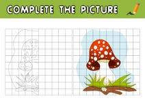 完成动画片伞形毒蕈的图片 复制图片并且上色它 孩子的教育比赛 向量例证