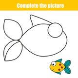 完成图片儿童教育比赛,上色页 与鱼的可印的孩子活动板料 库存照片