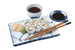 完成查出的膳食寿司 免版税图库摄影