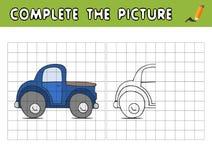 完成汽车的图片 复制图片并且上色它 孩子的教育比赛 库存例证