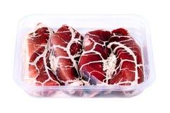 完成的半肉类塑料产品盘 免版税库存图片