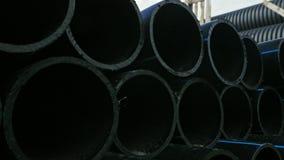 完成的塑料管子工业户外储藏地仓库  塑料水管工厂制造  股票视频