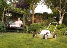 完成的草坪割 库存图片