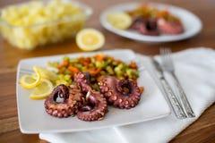 宏指令接近与菜的章鱼开胃菜 图库摄影