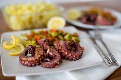 宏指令接近与菜的章鱼开胃菜 免版税库存图片