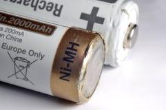 宏指令一些个老使用的电池 库存照片