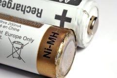 宏指令一些个老使用的电池 免版税库存图片