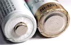 宏指令一些个老使用的电池 免版税库存照片