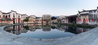 宏村月亮池塘全景 库存照片