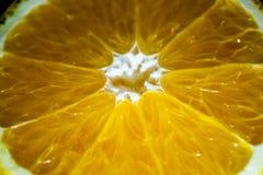 宏观健康食品成熟水多的明亮的桔子 免版税库存图片