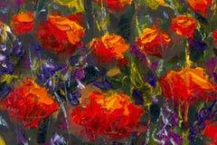 宏观在绿草的花红色黄色鸦片 特写镜头绘画的片段 帆布,油,调色刀 抽象花 文本 免版税库存图片