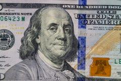 宏观射击一百元钞票 免版税图库摄影