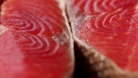 宏观射击 关闭 食物美好的射击  厨师三文鱼去骨切片储蓄英尺长度食物 美丽的水多的红色鱼 股票视频