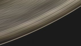 宏观射击A转动的唱片表面和它边缘轨道凹线停止 影视素材
