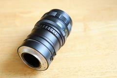 宏观摄影的引伸圆环在透镜登上了 库存图片