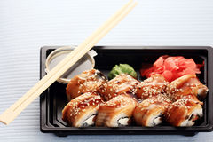宏观日本烹调的寿司卷 库存照片